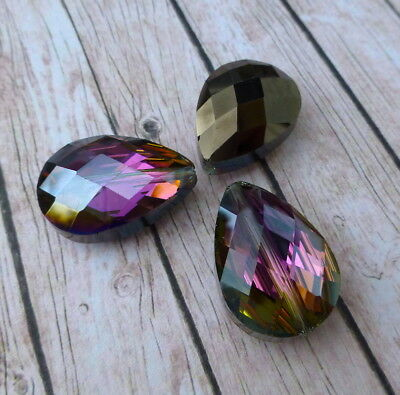 Pack of 5 Glass Faceted Teardrop Beads Heliotrope crystal drops Slight seconds !
