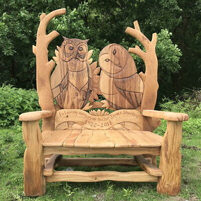WISE OWL Garden Bench - SOLID OAK wooden outdoor furniture, handmade in the UK
