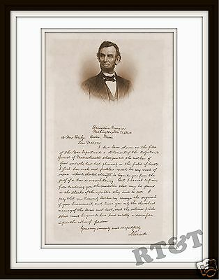 Photograph Civil War Lincoln Letter to Mrs.Bixby on Loss of Her Sons 1864  11x14