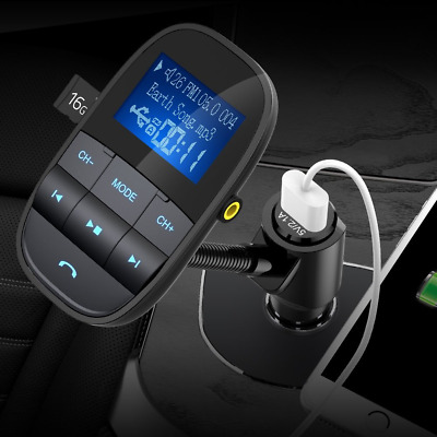 Nulaxy KM20 Car FM Transmitter w Bluetooth Compatibility, LED Screen, Take Calls