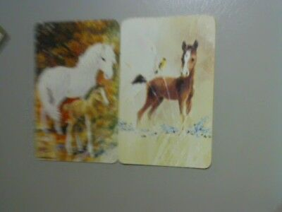 2 Single Swap/Playing Cards - Pair Horse and Horse & Foal (Blank Backs)#