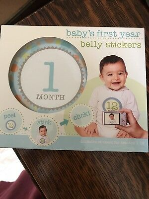 BABY'S FIRST YEAR Baby Boy Belly Stickers Months 1 - 12 Photos Pictures NEW NIB