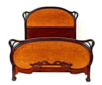 French Art Nouveau Mahogany Frame Full Size Bed