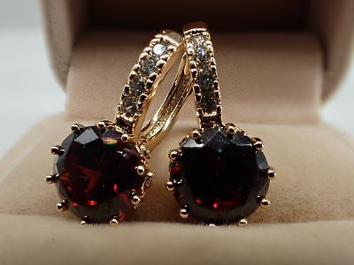 Ladies 14ct 9ct Yellow Gold GF 1CTW Round Red Ruby Hoop Huggies Earrings wedding