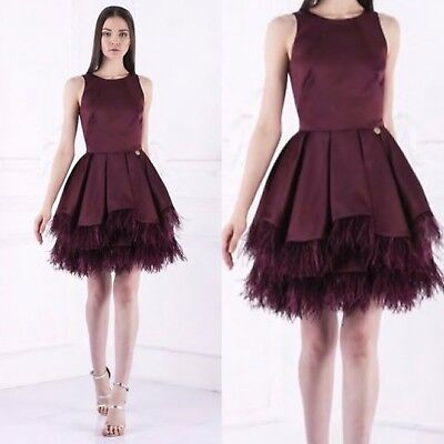 Bronx And Banco Short Prom Cocktail Ladies Full Skirted Feather Dress Burgundy