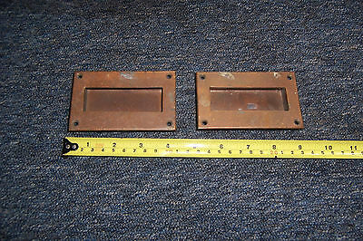Vintage brass drawer pull type handles x 2 both used see details