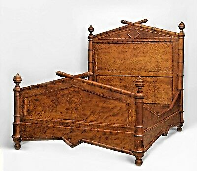 American Faux-Bamboo (Late 19th Cent.) Bird's Eye Maple Queen-Size Bed