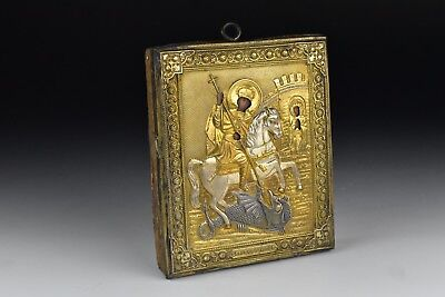 Antique Relief Gold and Silver Gilt Metal  Russian Icon with Painted Faces
