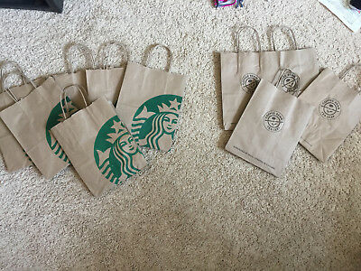 6 STARBUCKS 4 Coffee Bean Paper Bags Office School Lunch Meals Travel Picnic