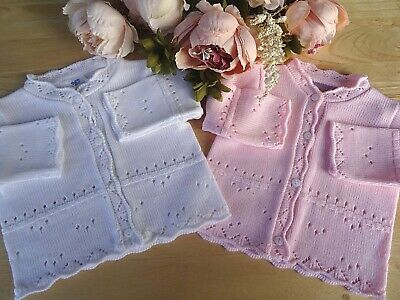 Baby Girl Pink White Fine Knit Cardigan Scalloped edge 0-3-6-9m Made in Portugal