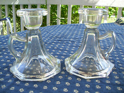 Vintage Pair Clear Glass CANDLE HOLDERS Rare Finger Loop from Spartan Mansion