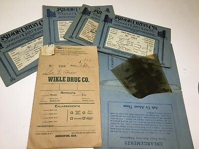 Vintage negatives 5 pkgs Rockford, Illinois,Simon Drug Co ?1940-50's, & Alabama