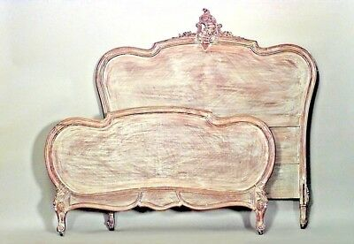 French Louis XV Provincial Style Bleached Full Size Bed