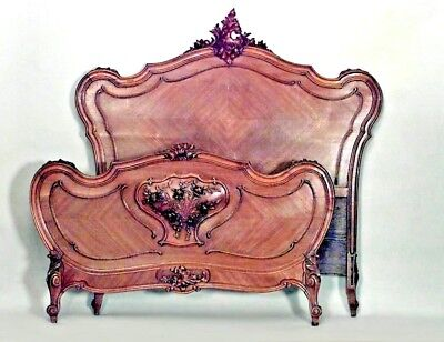 French Louis XV Provincial Style Walnut Full Size Bed