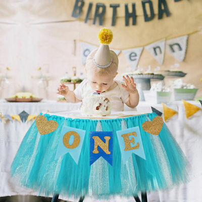 ONE 1st Birthday Banner High Chair Decoration Baby Shower Boy Girl Party Garland