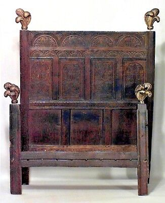 Italian Renaissance Style (18th Cent.) Walnut Wainscott Carved Full Size Bed