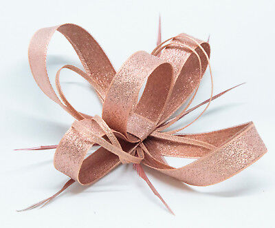 New shimmering metallic rose gold fascinator on comb, Alice band or  clip.