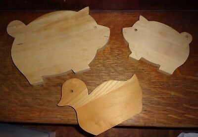 Vtg Wooden Pigs Duck Cutting Chopping Boards Farm Animals 3 Sizes Wall decor