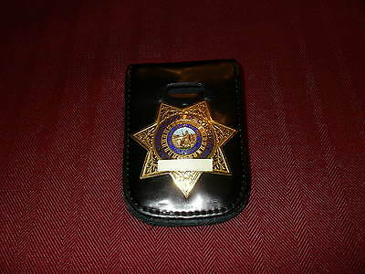 Badge and ID Holder with Chain Holds Shields or Star Badges
