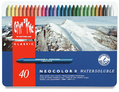 Caran d'Ache Classic Neocolor II Water-Soluble Pastels 40 Colors, New