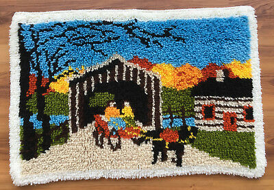 Vtg Completed/Finished Hand Crafted COVERED BRIDGE/HORSE Latched/ Hooked Rug 334