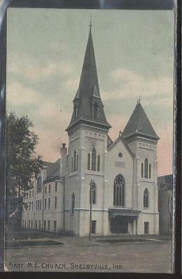 Postcard SHELBYVILLE IN  First Methodist Episcopal Church w/Tall Steeple 1907