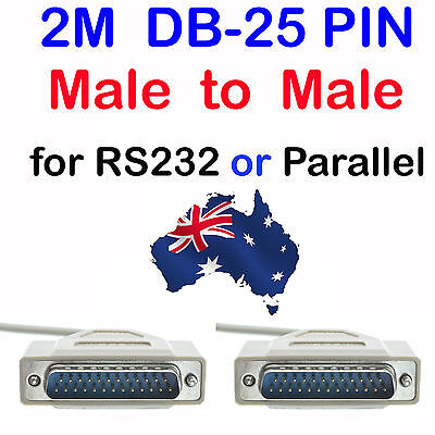 New 2m DB25 Male to DB25 Male Serial Parallel Cable