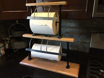 "Restored Butcher Paper Roll Cutter 2 Tier 15"" 9"" Dual Antique Vintage Mercantile"