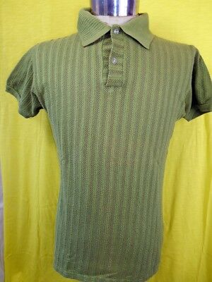 Vintage 60s Lime Green Cotton Nylon Open Weave 'Society' Mod Style Polo Shirt M