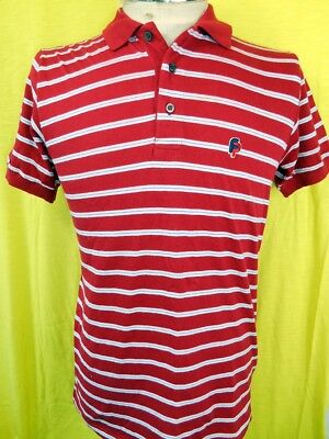 Vintage 1970s Italian Made Red White Striped FP Soft Poly/Cotton Polo Shirt S