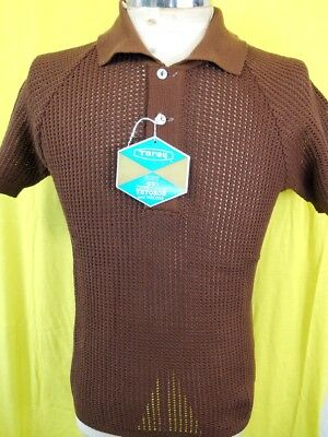 NEW-OLD Vintage 60s Dark Brown Tetoron Open Weave Purlow Mod Style Polo Shirt S