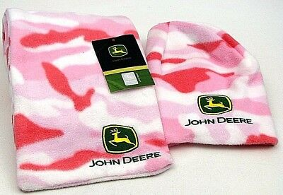 John Deere Stocking Hat with Scarf/Logo of John Deere/Pinkish/ Adults and young