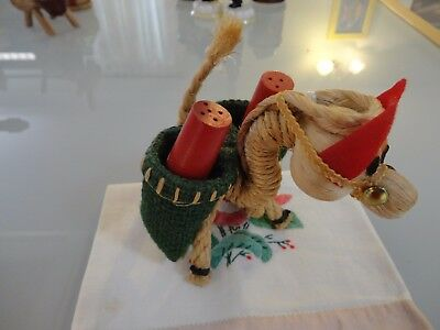 Vintage Novelty Kitsch straw rope donkey wood Salt And Pepper Shakers