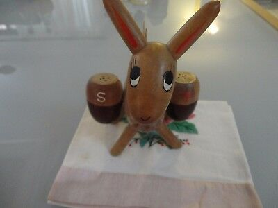 Vintage Novelty Kitsch wooden donkey toothpick holder Salt And Pepper Shakers