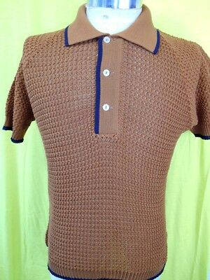 NEW-OLD Vintage 60s Brown Black Tetoron Open Weave Purlow Mod Style Polo Shirt S
