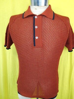NEW-OLD Vintage 60s Rusty Brown Tetoron Open Weave Purlow Mod Style Polo Shirt S