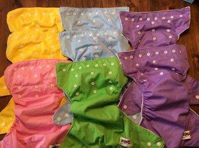 Baby Qianqunui Cloth Diaper Lot Of 9 Snap Adjustable