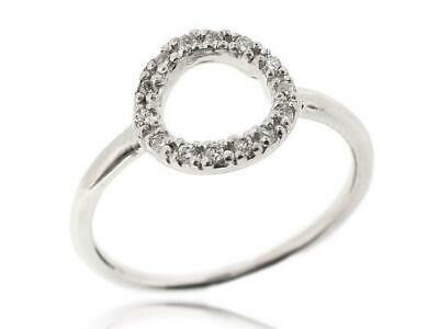 Sovats Sterling Silver Circle Ring Pave Setting Cubic Zirconia Stones Size 5-12