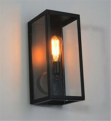 Vintage Loft Square Black One-Light Outdoor Wall Lamp with Clear Glass Box Black