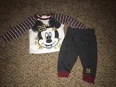 Disney Baby Boys Girl Unisex 3/6 Month Winter Mickey Mouse 2 Pcs Set