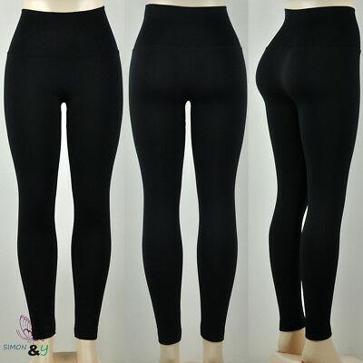 Tummy Tuck Seamless High Waisted Fleece Lined Stretchy Winter Leggings Black
