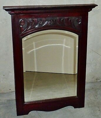 ANTIQUE darkened PINE HAND CARVED timber bevel edge wall MIRROR Edwardian c1915