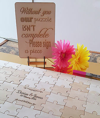 Wedding Jigsaw Puzzle Guestbook alternative, wooden, rustic, engagement, 76 pcs*