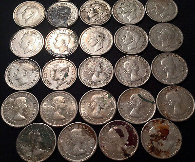 1939-1959 Canadian Silver Dimes - Lot of 24 Parial Roll - $2.40 Face