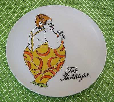 Fritz and Floyd Fat Beautiful 1970's Plate Original Paper Tag Lady in Yellow