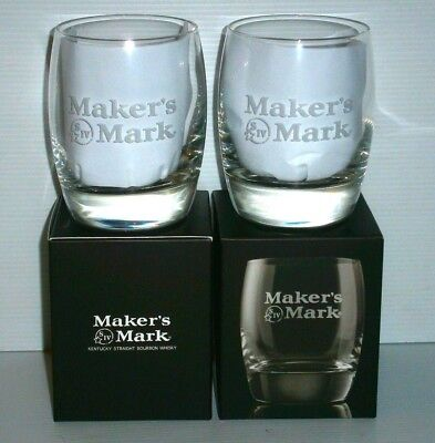 Makers Mark Bourbon Etched Glasses x 2 Boxed brand new 4 home bar or collector
