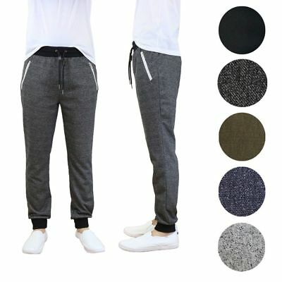 Galaxy by Harvic Men's French Terry Solid Active Slim Fit Joggers with Zipper