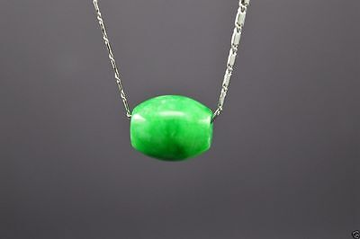 New NATURAL GREEN Jade Carved Chinese Lucky Barrel Pendant With Necklace -Nice-