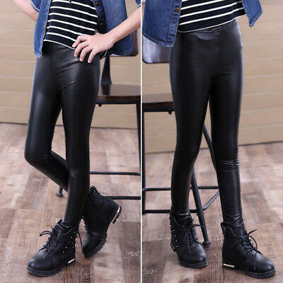 Toddler Baby Girls Kids Stretchy Skinny Leggings PU Leather Pants Trousers 2-10Y