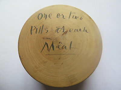 CHEMIST LARGE WOODEN TABLET PILL BOX Pre1900 ONE OR TWO PILLS AT EACH MEAL